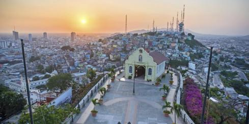View of a small chapel and the city of Guayaquil