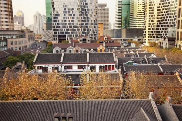 Old Chinese Houses and High Rises in French Concession, Shanghai