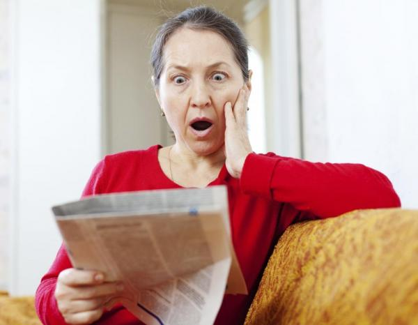 Woman shocked at the news