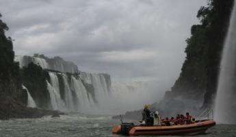 Cruising up to Iguazu Falls