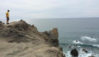 Hiking on the cliffs above the Baja coast