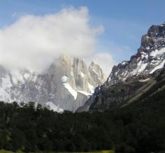 Cerro Torre hidden amongst the clouds