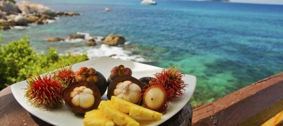Typical Thai fruits enjoyed with views of Phuket