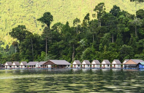 Floating bungalows on Cheow Lan Lake in Khao Sok National park