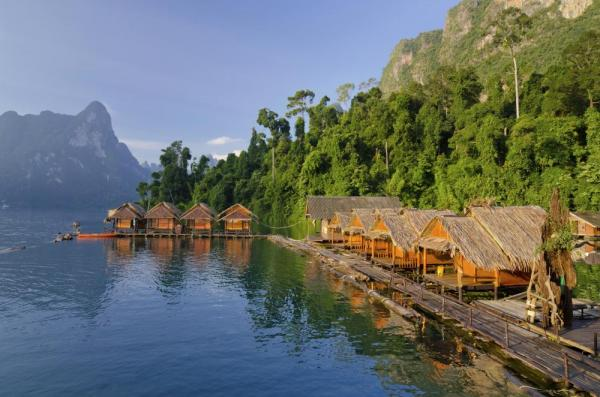 Raft houses at Cheow Lan Lake, Khao Sok National Park