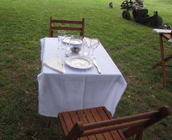 Enjoy fine dining on the estancia grounds