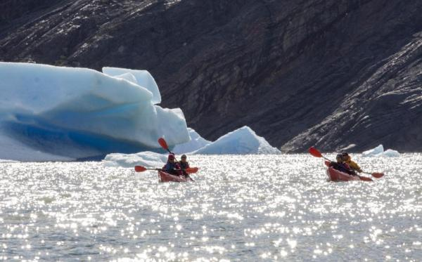 Kayaking in the icy water