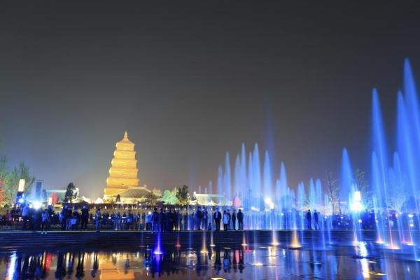 Fountains at night in Xian
