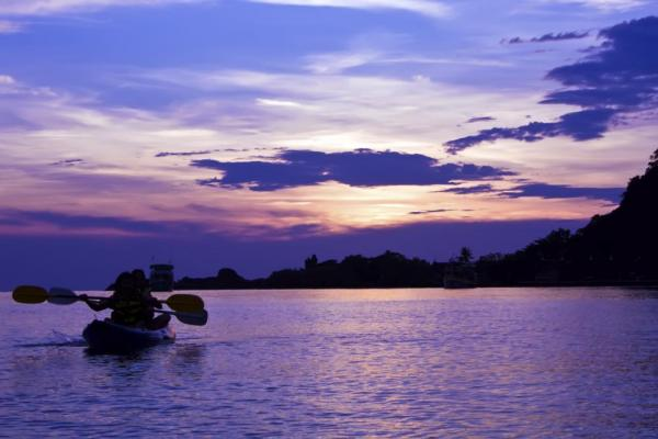 Kayak at sunset in Thailand
