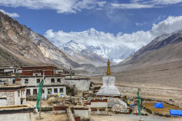 Rongbuk Monastery at the foot of Mt. Everest