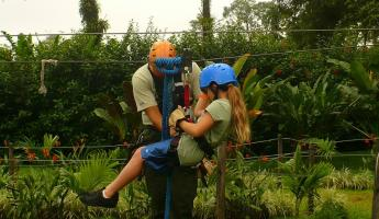 Zip line practice in Costa Rica