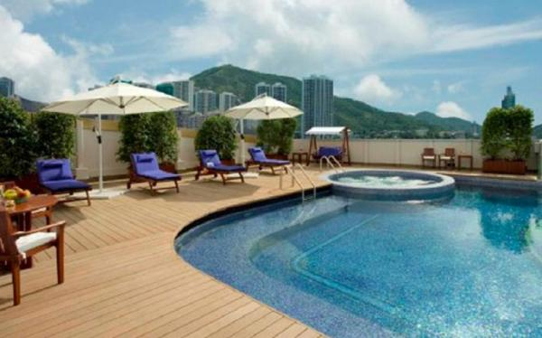 Relax and enjoy city views from the Regal Hong Kong swimming pool