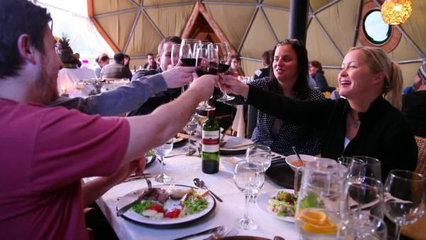 Adventures in Patagonia! Sharing a meal with other guests at Ecocamp