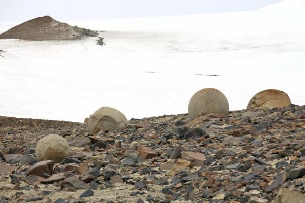 Mysterious natural round stones of Franz Josef Land