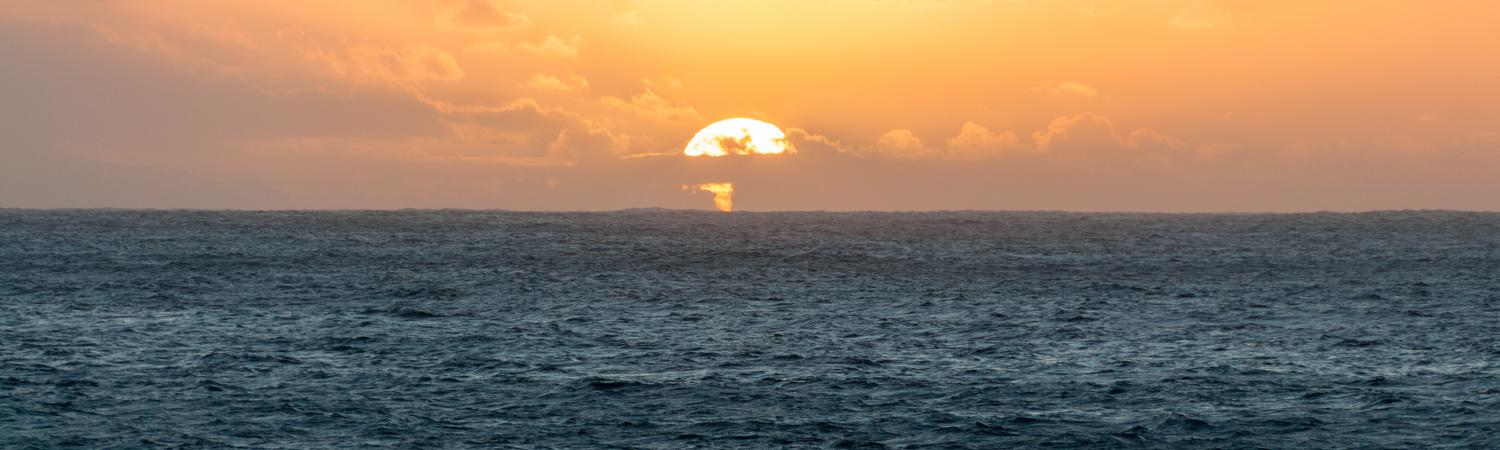 The sun sets off the Canary Islands