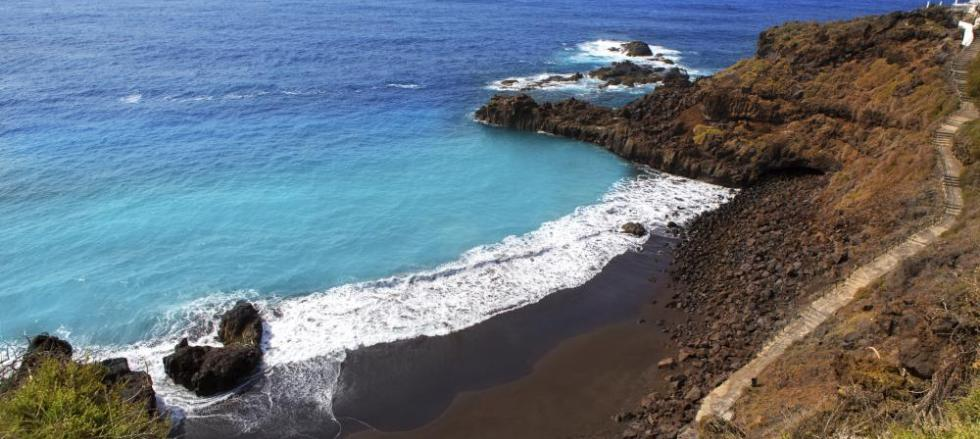 The stunning blue coastline of the Canary Islands