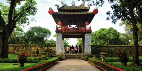 Beautiful Entrance at The Temple Of Literature Hanoi