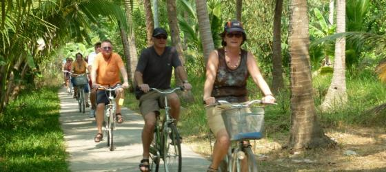 Ben Tre biking on a country lane