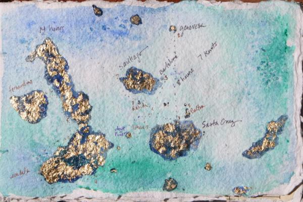 Finished map in acrylics and gold leaf