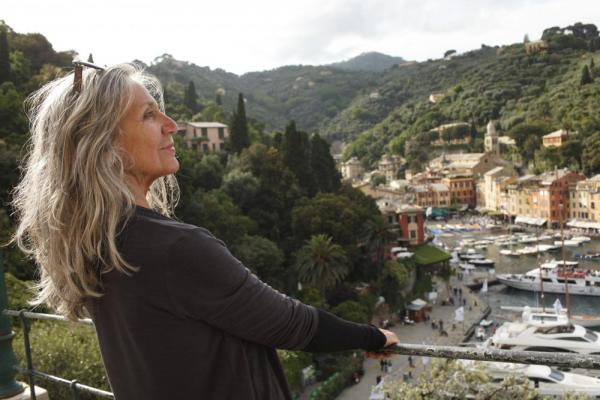 Woman looking over Italian town
