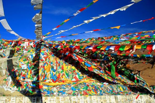 Prayer flags on Nachan La-Pass, Lhasa