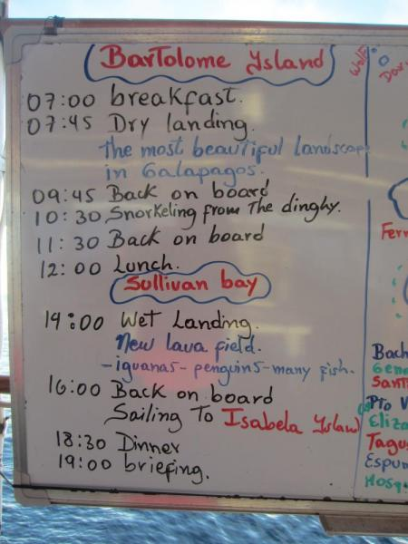 Sample daily itinerary