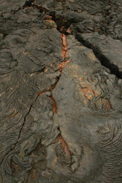 The rust color is the 'print' a tree left behind when the lava came through!