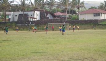 A soccer game with the locals