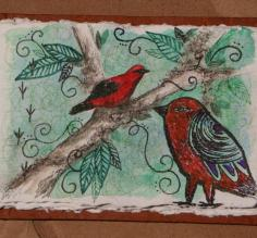 Vermilion Tanager, acrylic, marker and colored pencil