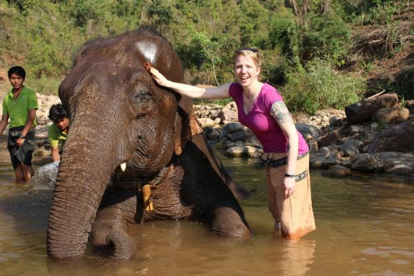 Making friends with an elephant in Myanmar