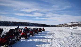 Our group of snowmobiles
