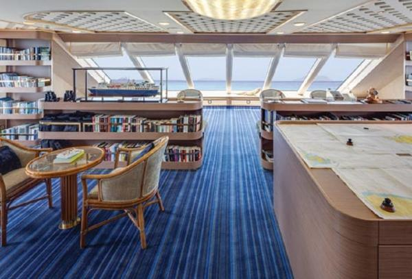 Relax in the observation lounge and library.