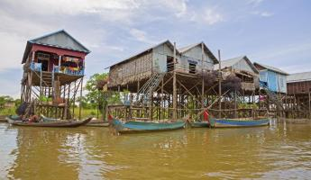 Floating village in Southeast Asia