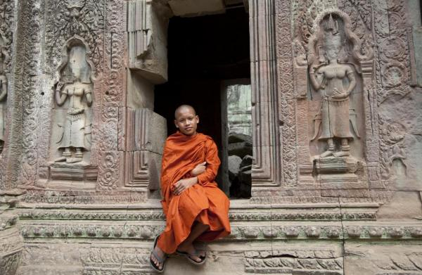 Monk at Angkor temple