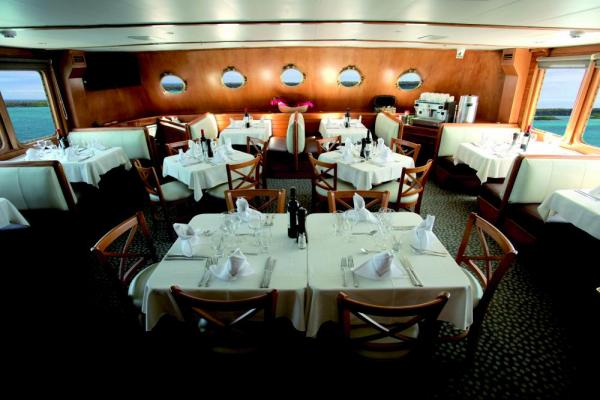 The open dining room aboard the Corals