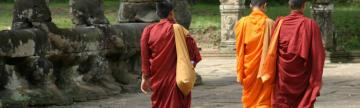 Monks walking near Angkor Thom