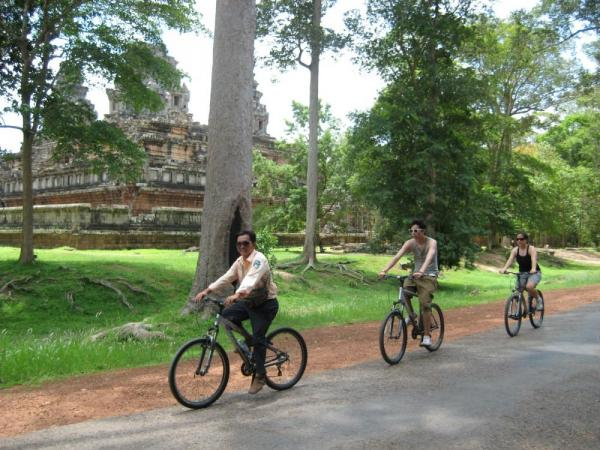 Cycling near the ruins of Angkor Wat