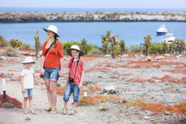 Family exploring from their Galapagos cruise ship
