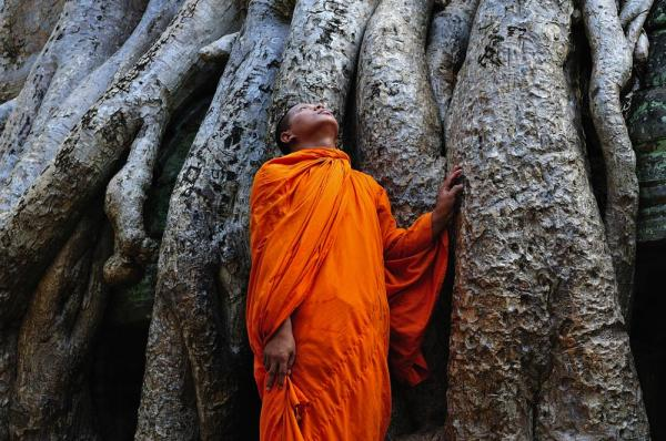 Monk at Ta Prohm temple, Angkor