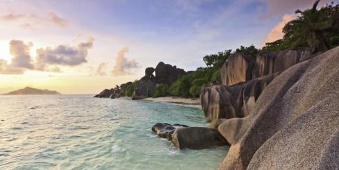 Dramatic sunset over La Digue Island in the Seychelles