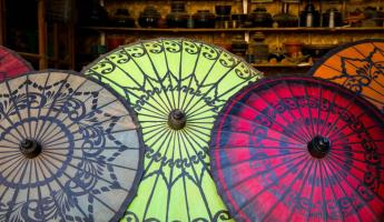 Colorful umbrellas of Myanmar