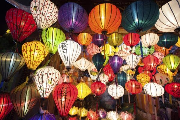 Silk lanterns over Hoi An, Vietnam