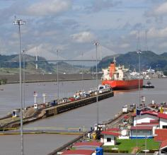 Ships entering the locks on the Panama Canal