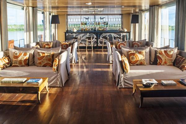 Indoor lounge on board the Aria Amazon