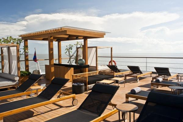 Outdoor lounge on board the Aqua Mekong