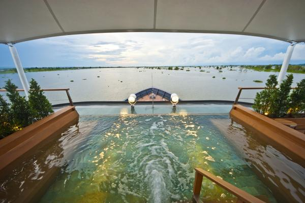 The pool on board the Aqua Mekong