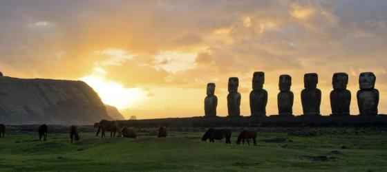 Sunset on Easter Island