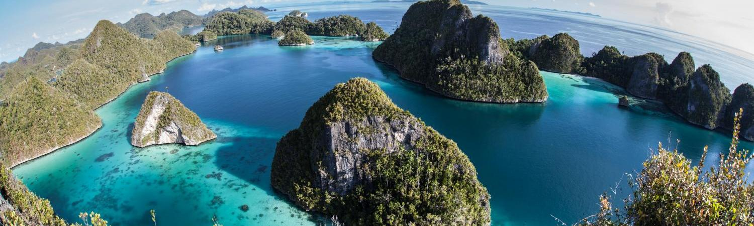 Limestone islands in a lagoon