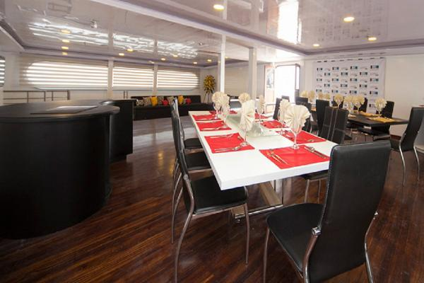 Dining area on the Galapagos ship Petrel