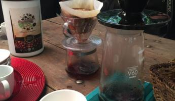 Sampling organic Colombian coffee